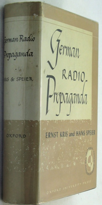German Radio Propaganda - Report on Home Broadcasts during the Warby: Kris, Ernst/Hans Speier - Product Image