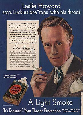 ORIG VINTAGE MAGAZINE AD / 1937 LUCKY STRIKE CIGARETTES ADby: Howard)(Leslie - Product Image