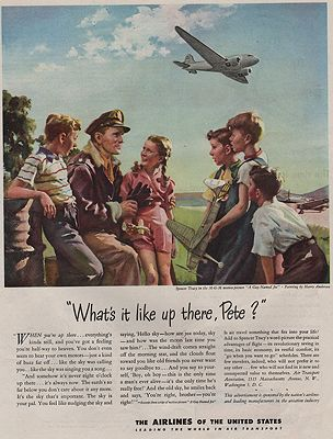 ORIG VINTAGE MAGAZINE AD / 1945 AIRLINES OF THE UNITED STATES ADby: Anderson (Illust.), Harry - Product Image