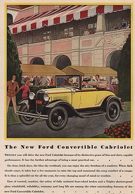 ORIG VINTAGE MAGAZINE AD/ 1930 FORD CONVERTIBLE CABRIOLETillustrator- James  Williamson - Product Image