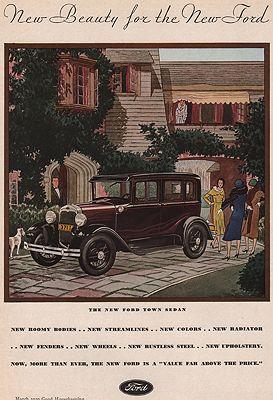 ORIG VINTAGE MAGAZINE AD/ 1930 FORD TOWN SEDANillustrator- James  Williamson - Product Image