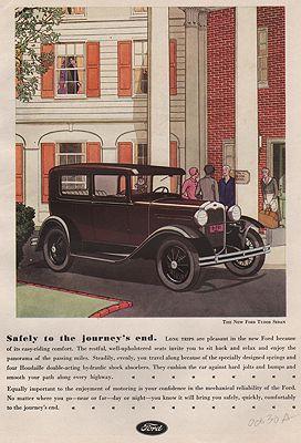 ORIG VINTAGE MAGAZINE AD/ 1930 FORD TUDOR SEDANillustrator- James  Williamson - Product Image