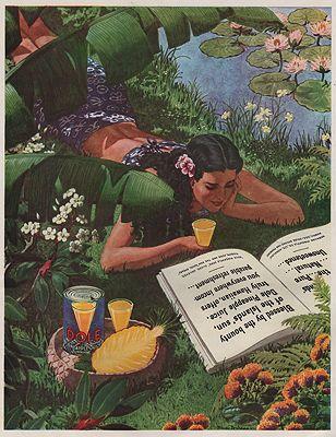 ORIG VINTAGE MAGAZINE AD/ 1930s DOLE PINEAPPLE JUICE ADillustrator- Pierre  Brissaud - Product Image
