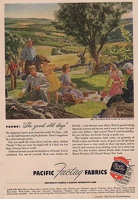 ORIG VINTAGE MAGAZINE AD/ 1943 PACIFIC FACTAG FABRICSby: Helck (Illust.), Peter - Product Image