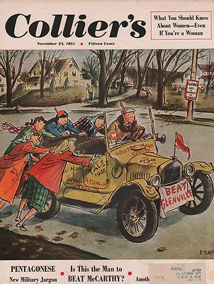 ORIG VINTAGE MAGAZINE COVER/ COLLIER'S - NOVEMBER 24 1951illustrator- Barney  Tobey - Product Image