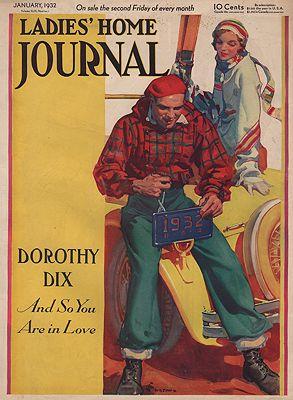 ORIG VINTAGE MAGAZINE COVER/ LADIES HOME JOURNAL - JANUARY 1932illustrator- E.M.  Jackson - Product Image