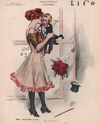 ORIG VINTAGE MAGAZINE COVER/ LIFE - JANUARY 26 1911illustrator- James Montgomery  Flagg - Product Image