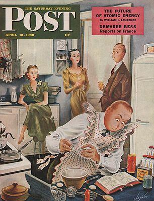 ORIG VINTAGE MAGAZINE COVER/ SATURDAY EVENING POST - APRIL 13 1946illustrator- Constantin  Alajalov - Product Image