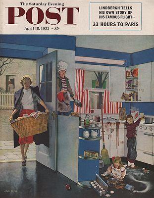 ORIG VINTAGE MAGAZINE COVER/ SATURDAY EVENING POST - APRIL 18 1953illustrator- John  Falter - Product Image