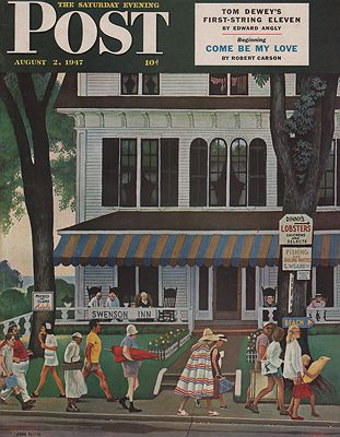 ORIG VINTAGE MAGAZINE COVER/ SATURDAY EVENING POST - AUGUST 2 1947illustrator- John   Falter - Product Image
