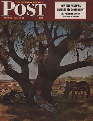 ORIG VINTAGE MAGAZINE COVER/ SATURDAY EVENING POST - AUGUST 23 1947illustrator- John  Atherton - Product Image