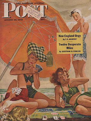 ORIG VINTAGE MAGAZINE COVER/ SATURDAY EVENING POST - AUGUST 28 1943illustrator- Alex  Ross - Product Image