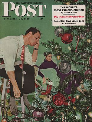 ORIG VINTAGE MAGAZINE COVER/ SATURDAY EVENING POST - DECEMBER 24 1949 illustrator- George  Hughes - Product Image