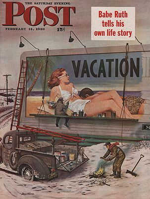 ORIG VINTAGE MAGAZINE COVER/ SATURDAY EVENING POST - FEBRUARY 14 1948illustrator- Stevan  Dohanos - Product Image