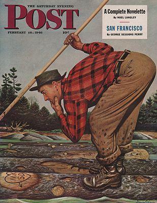 ORIG VINTAGE MAGAZINE COVER/ SATURDAY EVENING POST - FEBRUARY 16 1946illustrator- Stevan  Dohanos - Product Image