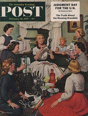 ORIG VINTAGE MAGAZINE COVER/ SATURDAY EVENING POST - FEBRUARY 26 1955illustrator- Stevan  Dohanos - Product Image