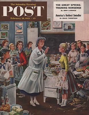 ORIG VINTAGE MAGAZINE COVER/ SATURDAY EVENING POST - FEBRUARY 28 1953illustrator- Constantin  Alajalov - Product Image