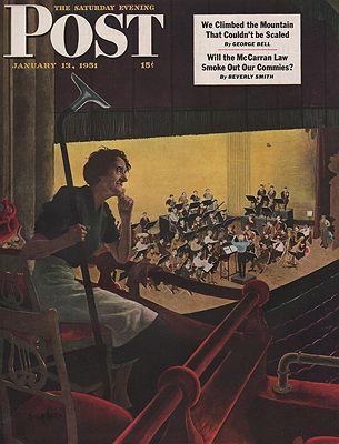 ORIG VINTAGE MAGAZINE COVER/ SATURDAY EVENING POST - JANUARY 13 1951illustrator- George  Hughes - Product Image