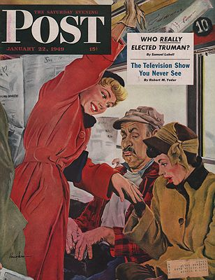 ORIG VINTAGE MAGAZINE COVER/ SATURDAY EVENING POST - JANUARY 22 1949illustrator- George  Hughes - Product Image