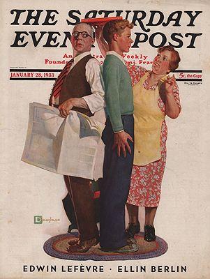 ORIG VINTAGE MAGAZINE COVER/ SATURDAY EVENING POST - JANUARY 28 1933by: Crockwell (Illust.), Douglas - Product Image