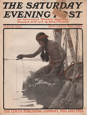 ORIG VINTAGE MAGAZINE COVER/ SATURDAY EVENING POST - JULY 18 1908illustrator- N.C.  Wyeth - Product Image