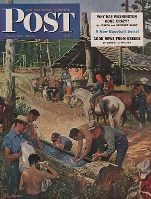 ORIG VINTAGE MAGAZINE COVER/ SATURDAY EVENING POST - JULY 29 1950illustrator- John  Clymer - Product Image