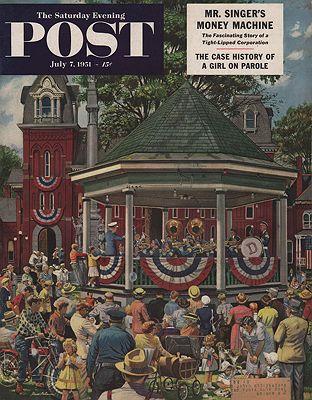 ORIG VINTAGE MAGAZINE COVER/ SATURDAY EVENING POST - JULY 7 1951illustrator- Stevan  Dohanos - Product Image