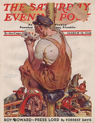 ORIG VINTAGE MAGAZINE COVER/ SATURDAY EVENING POST - MARCH 12 1938illustrator- S.N.  Abbott - Product Image