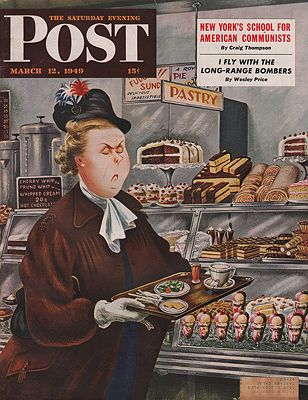 ORIG VINTAGE MAGAZINE COVER/ SATURDAY EVENING POST - MARCH 12 1949illustrator- Constantin  Alajalov - Product Image