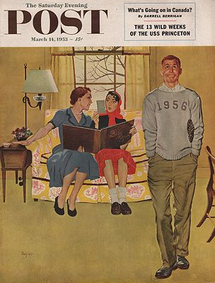 ORIG VINTAGE MAGAZINE COVER/ SATURDAY EVENING POST - MARCH 14 1953illustrator- George  Hughes - Product Image