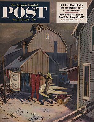 ORIG VINTAGE MAGAZINE COVER/ SATURDAY EVENING POST - MARCH 8 1952illustrator- Stevan  Dohanos - Product Image
