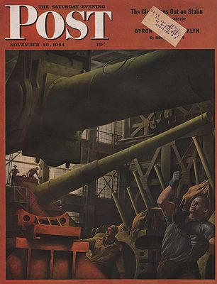 ORIG VINTAGE MAGAZINE COVER/ SATURDAY EVENING POST - NOVEMBER 18 1944illustrator- Robert  Riggs - Product Image
