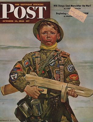 ORIG VINTAGE MAGAZINE COVER/ SATURDAY EVENING POST - OCTOBER 14 1944illustrator- Howard  Scott - Product Image