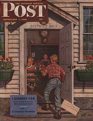 ORIG VINTAGE MAGAZINE COVER/ SATURDAY EVENING POST - SEPTEMBER 7 1946illustrator- Stevan  Dohanos - Product Image