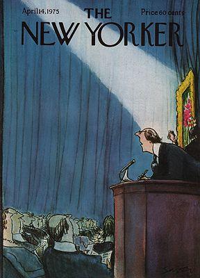 ORIG VINTAGE MAGAZINE COVER/ THE NEW YORKER - APRIL 14 1975 1975illustrator- Charles  Saxon - Product Image