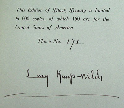 Limitation page and signature of Lucy Kemp-Welch