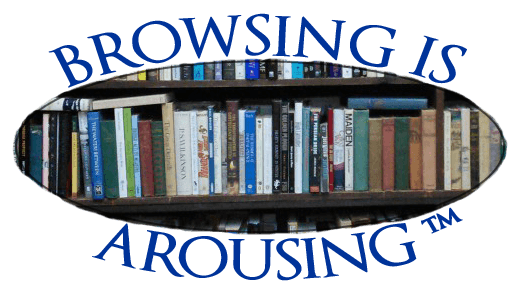 Browsing is Arousing ™ words surrounding shape of eye around books on shelves.